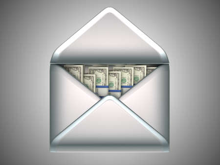 remittance: remittance and money transfer - US dollars in opened envelope over grey Stock Photo