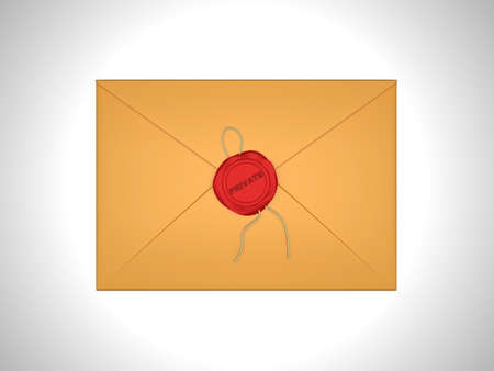 Private message - letter sealed with red sealing wax over white photo