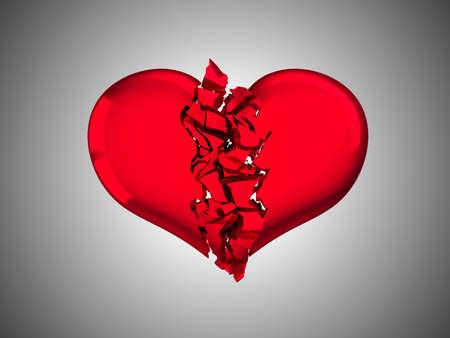 Red Broken Heart - unrequited love or illness. Over grey background photo