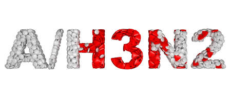 Swine Flu H3N2 epidemic - word assemled with pills isolated over white Stock Photo - 8295701