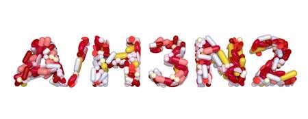 Swine Flu H3N2 virus - word assemled with pills isolated over white Stock Photo - 8295700