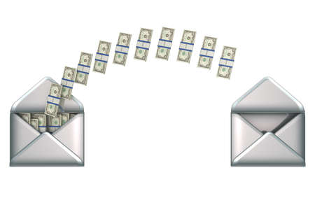 bundle of letters: Remittance and money transfer - US dollars and 2 envelopes isolated over white