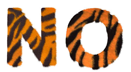 fell: Tiger fell N and O letters isolated over white background Stock Photo