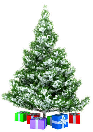 Christmas tree with gifts isolated over white background photo