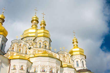 Golden Cupola of Orthodox church and Cloudy sky. Kiev-Pecherskaya Laura. Stock Photo - 8378028
