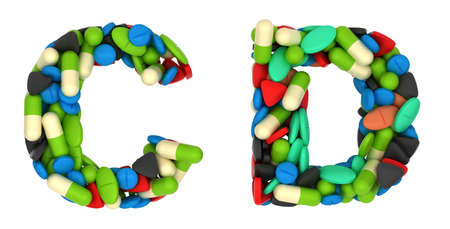 chr: Healthcare font C and D pills letters over white Stock Photo