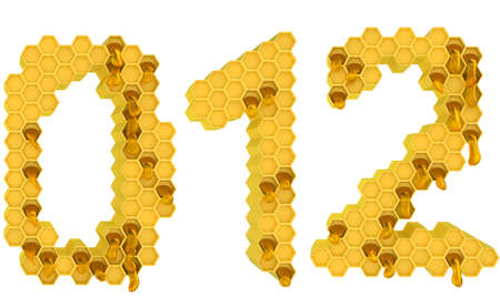 Honey font 0 1 and 2 numerals isolated over white photo