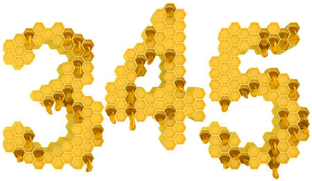 Honey font 3 4 and 5 numerals isolated over white photo
