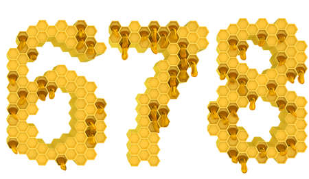 6 7: Honey font 6 7 and 8 numerals isolated over white