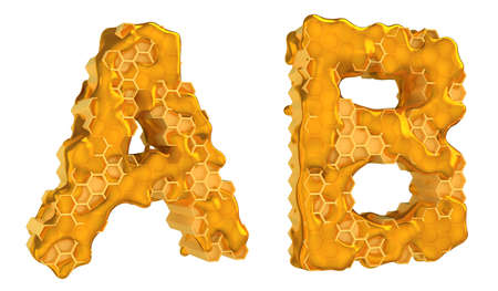 Honey font A and B letters isolated over white photo