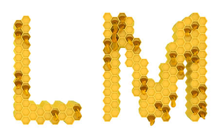 Honey font L and M letters isolated over white photo