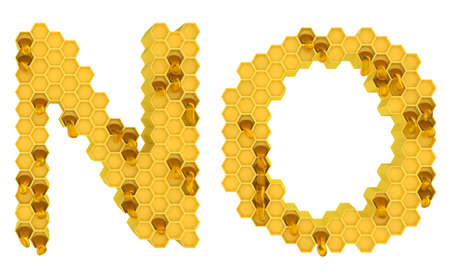 Honey font N and O letters isolated over white photo