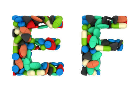 Pharmaceutical font C and D pills letters over white photo