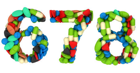 6 7: Pills font 6 7 and 8 numerals isolated over white