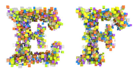 Abstract cubes font E and F letters isolated over white photo