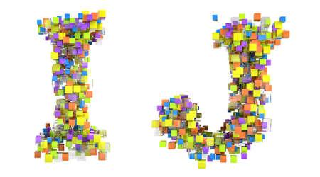 rectangulo: Fuente de cubos abstracta, I y J cartas aislaron sobre blanco