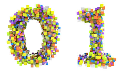 Abstract cubic font 0 and 1 figures isolated over white photo