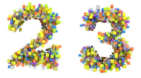 Abstract cubic font 2 and 3 figures isolated over white photo