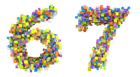 Abstract cubic font 6 and 7 figures isolated over white photo