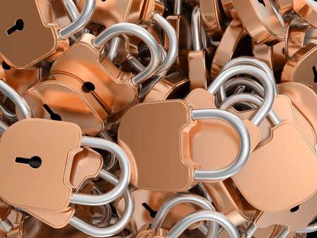 Close-up of locked brass padlocks. Large resolution Stock Photo - 8378168