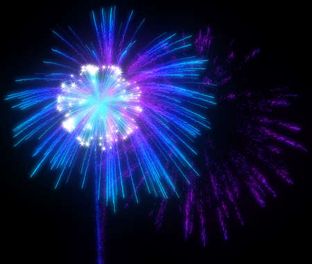 Festive purple and blue fireworks at night over black background photo