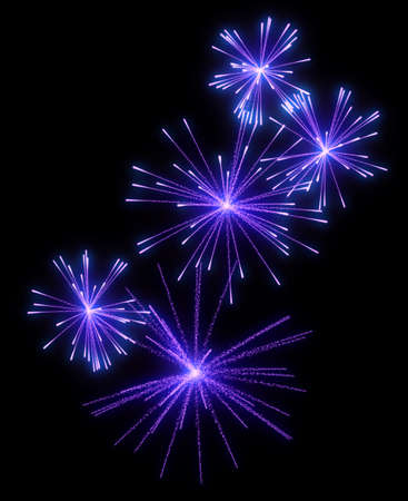 Lilac festive fireworks at night over black background