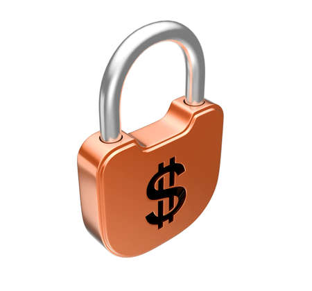 Locked padlock - US dollar currency concept. Isolated over white Stock Photo - 8378092