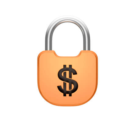 us currency: Locked padlock - US dollar currency concept. Isolated over white