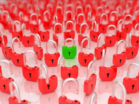 Solving the problem - opened lock among locked ones. Shallow DOF Stock Photo - 8378147