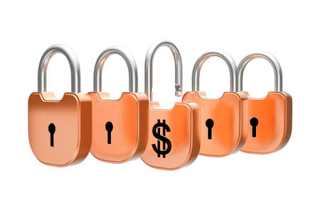 doorlock: Padlocks concept - US dollar currency safety. Isolated over white Stock Photo