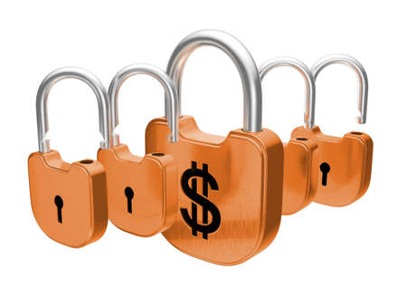 doorlock: Padlocks - US dollar currency safety concept. Isolated over white