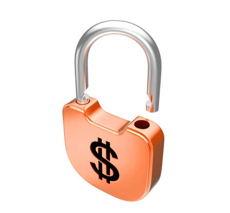Unlocked US dollar currency padlock. Isolated over white Stock Photo - 8378096