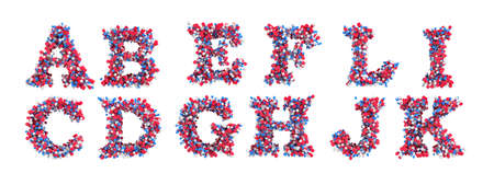 Abstract 3D font A-L letters isolated over white photo
