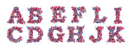 rectangulo: Cartas de fuente 3D abstracta A-L aislados sobre blanco