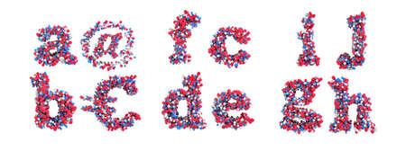 rectangulo: Fuente 3D abstractos peque�o de A-J letras y s�mbolos aislados sobre blanco Foto de archivo