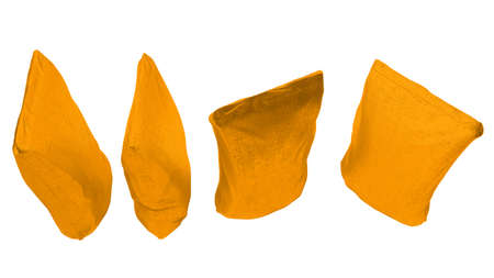 sackful: Top view of 4 Golden sacking packages for coffee or tea isolated on white