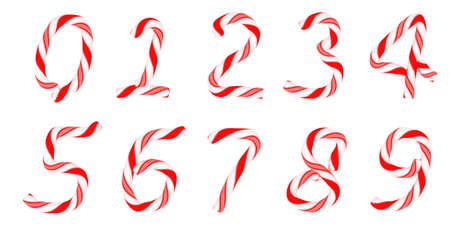 a cane: Candy cane font 0-9 numerals isolated on white