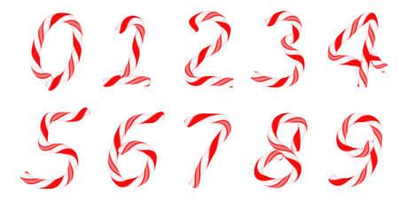 canes: Candy canna carattere 0-9 numeri isolati su bianco