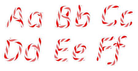 Candy cane font A - F letters isolated on white photo