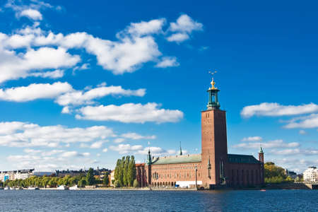 Stockholm city hall and blue sky in summer photo