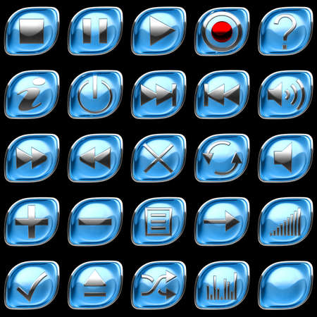 Blue pushed Control panel buttons or icons isolated on black photo