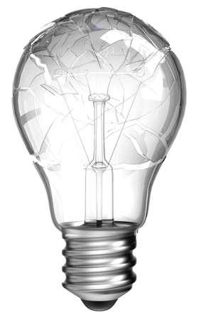 Failed idea. Smashed lightbulb isolated over white background photo