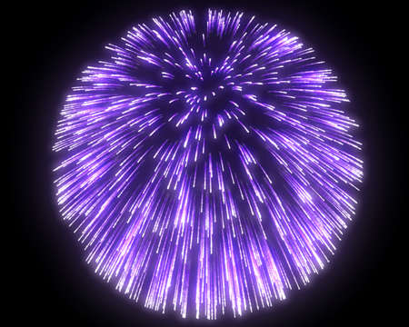 Festive purple fireworks at night over black background photo