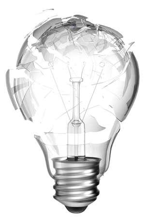lightbulb idea: Making mistake. Smashed lightbulb isolated over white background