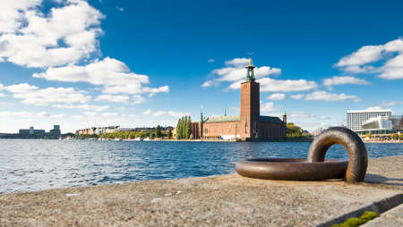 Stockholm quayside and city hall in summer photo