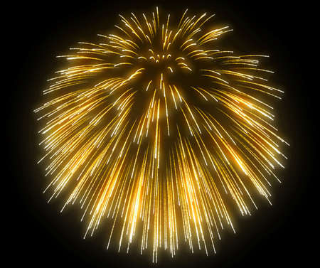 Yellow festive fireworks at night over black background photo