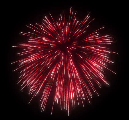 Celebration: red festive fireworks at night over black background Stock Photo