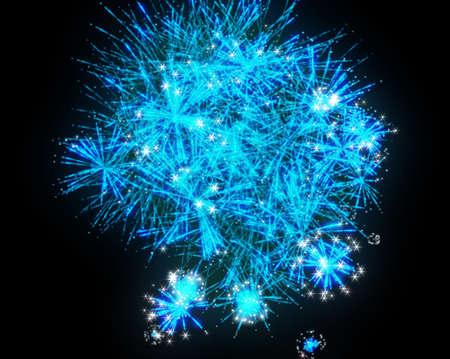 Blue fireworks explosions over black background photo