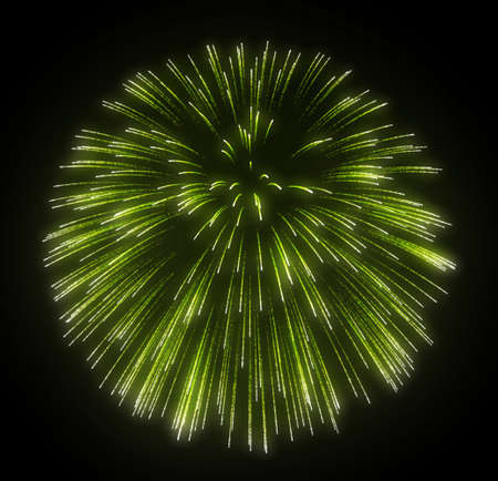 Green fireworks explosions over black background