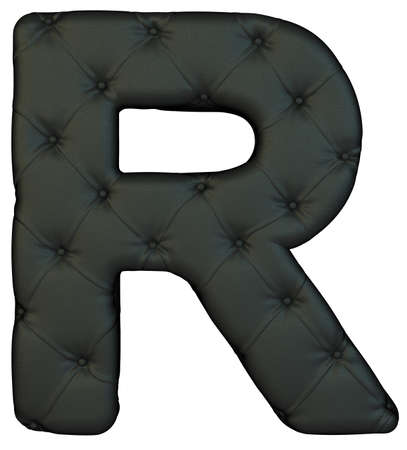 chr: Luxury black leather font R letter isolated on white Stock Photo